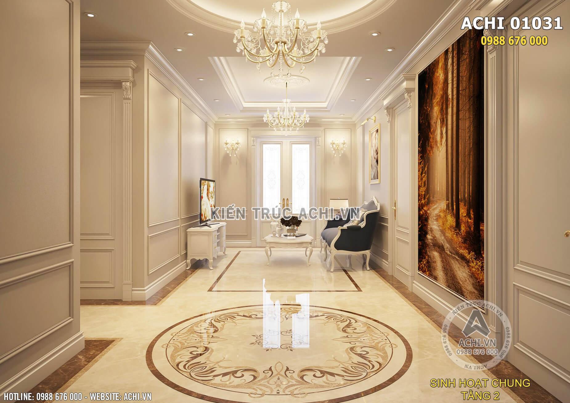 Không gian nội thất phòng sinh hoạt chung tại tầng 2 của ngôi biệt thự