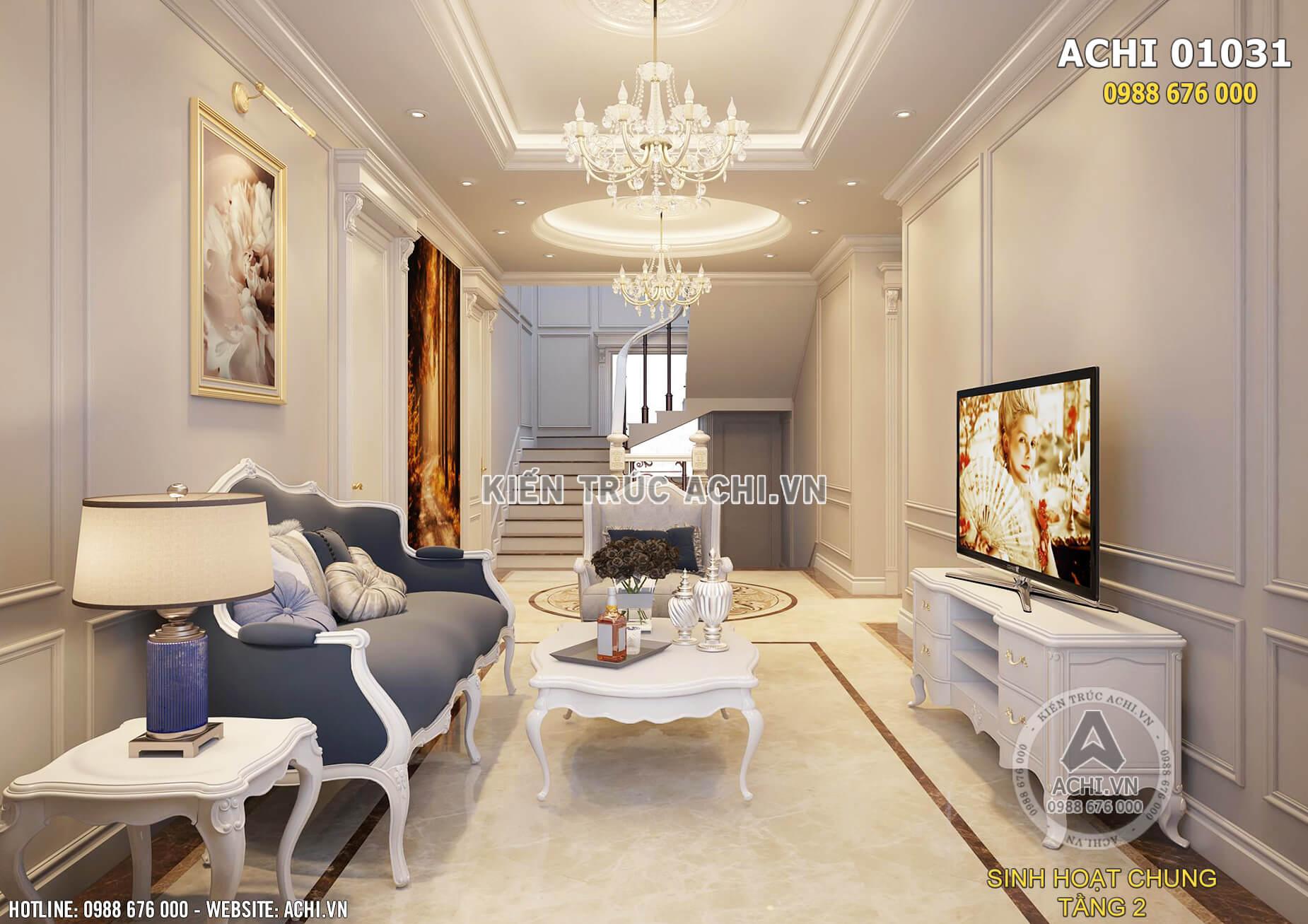 Mẫu thiết kế nội thất phòng sinh hoạt chung nhẹ nhàng, sang trọng