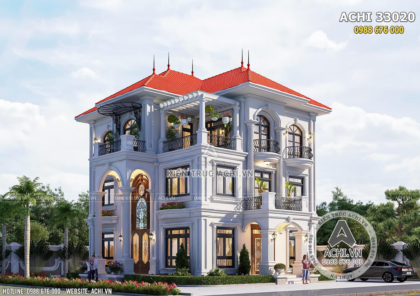 Mẫu thiết kế biệt thự 3 tầng tân cổ điển đẹp - ACHI 33020