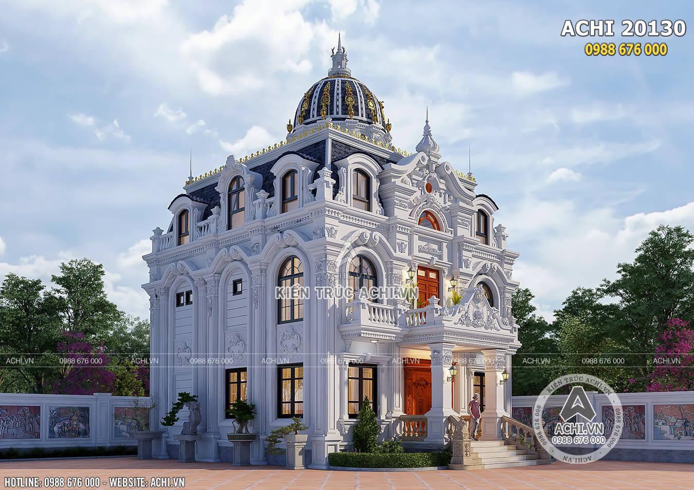 Không gian ngoại thất mẫu thiết kế biệt thự tân cổ điển đẹp 110m2 tại Thanh Hóa