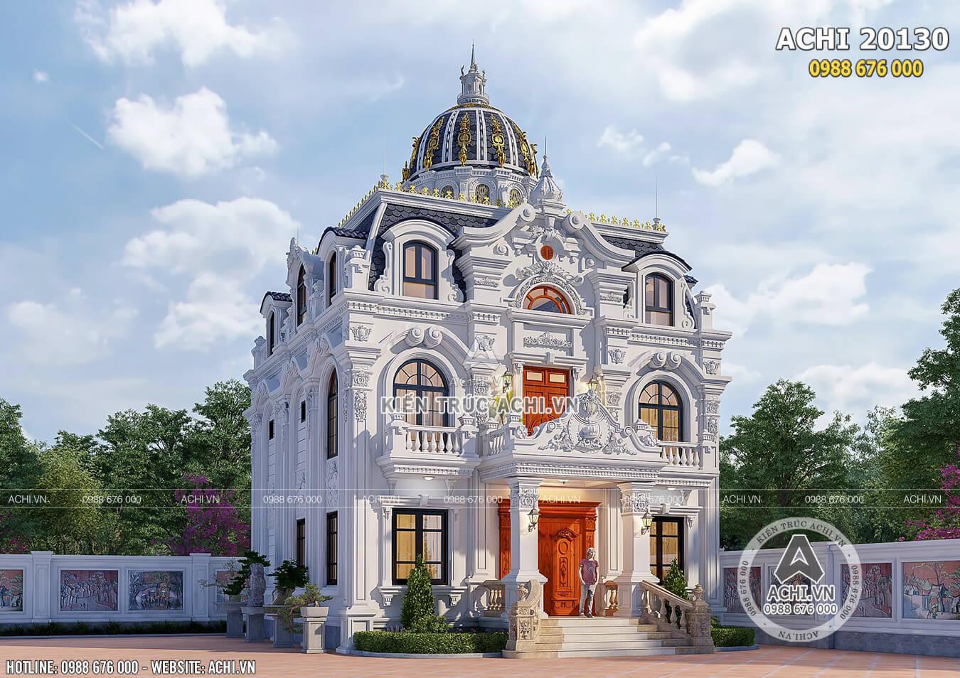 Không gian mặt tiền đẹp hút hồn của mẫu thiết kế biệt thự tân cổ điển đẹp
