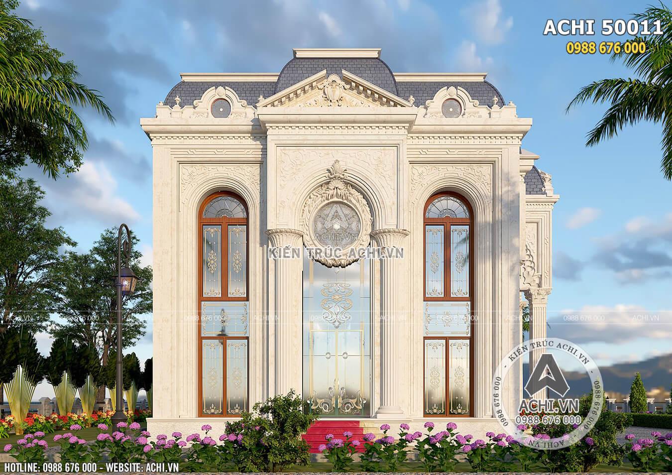 Mặt bên của mẫu dinh thự 2 tầng đẹp sang trọng đẳng cấp