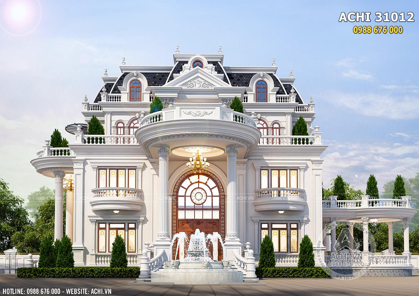 Mặt tiền mẫu dinh thự đẹp kiến trúc tân cổ điển
