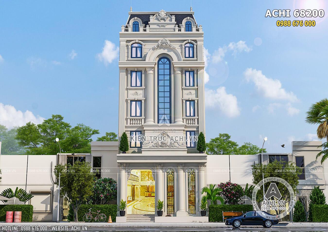 Không gian ngoại thất mặt tiền mẫu thiết kế khách sạn 2 sao mặt tiền 8m đẹp tại Hà Nam - Mã số: ACHI 68200