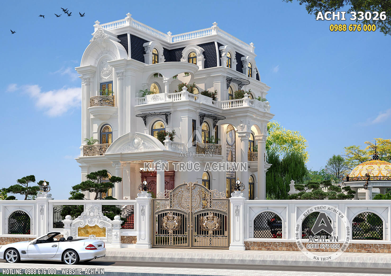 Thiết kế mẫu nhà 4 tầng tân cổ điển đẹp mặt tiền 9m - ACHI 33026