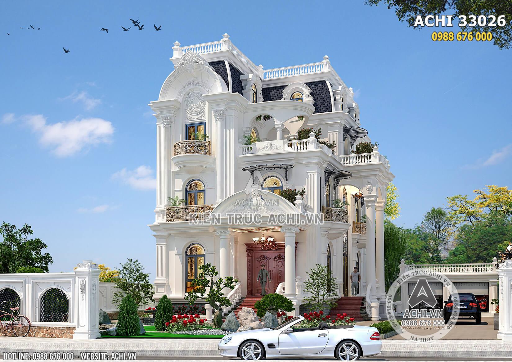 Mặt tiền mẫu thiết kế nhà 4 tầng tân cổ điển đẹp