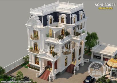 Thiết kế mẫu nhà 4 tầng tân cổ điển đẹp nhìn từ trên cao