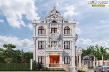 Thiết kế nhà 4 tầng tân cổ điển đẹp 100m2 tại Thái Bình – ACHI 41026