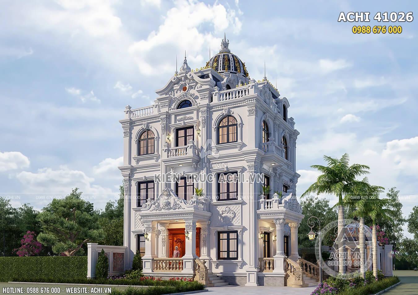 Thiết kế nhà 4 tầng tân cổ điển đẹp 100m2 tại Thái Bình - ACHI 41026