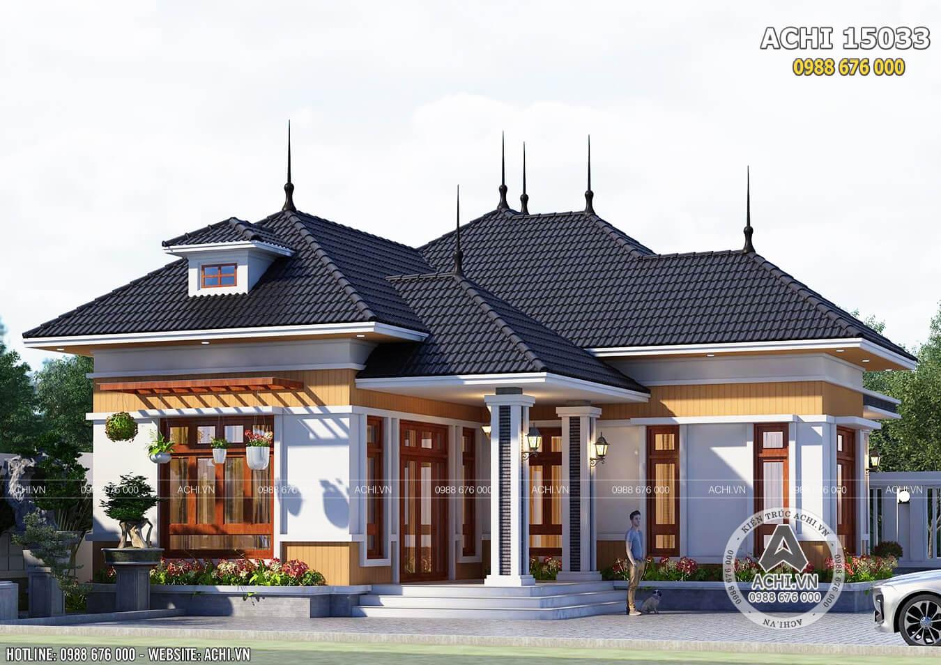 Phối cảnh 3D ngoại thất đẹp mẫu thiết kế nhà 1 tầng mái Thái đơn giản