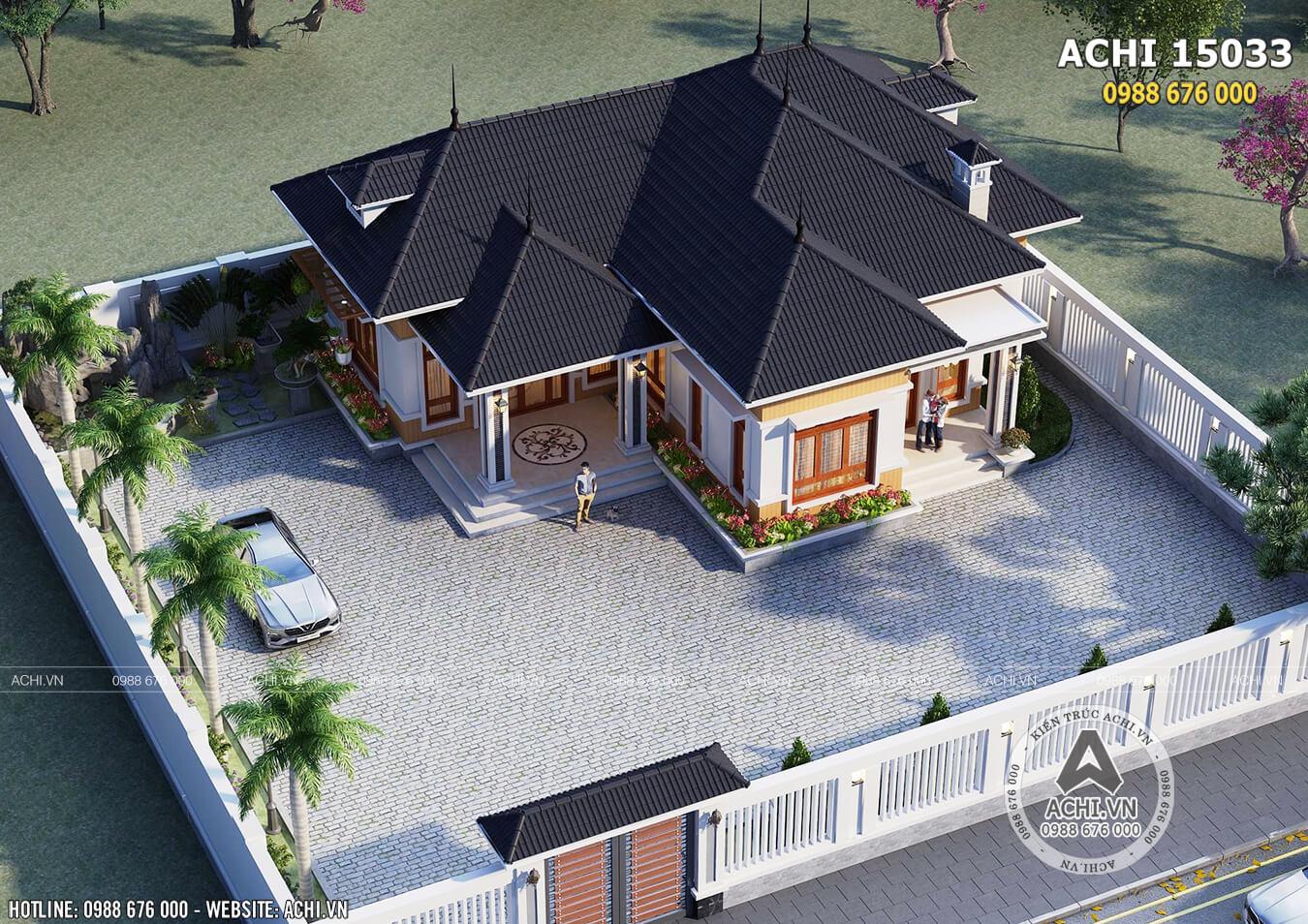 Toàn cảnh thiết kế nhà cấp 4 mái Thái đơn giản - Mã số: ACHI 15033 khi nhìn từ trên cao xuống