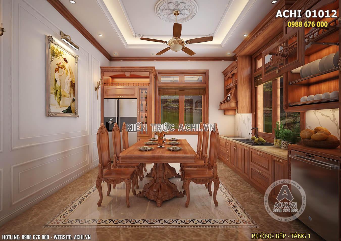 Bộ bàn ăn bằng gỗ sang trọng hài hòa cùng không gian nội thất