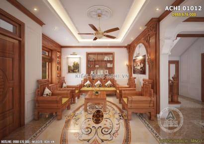 Không gian nội thất phòng khách kiến trúc tân cổ nhẹ nhàng