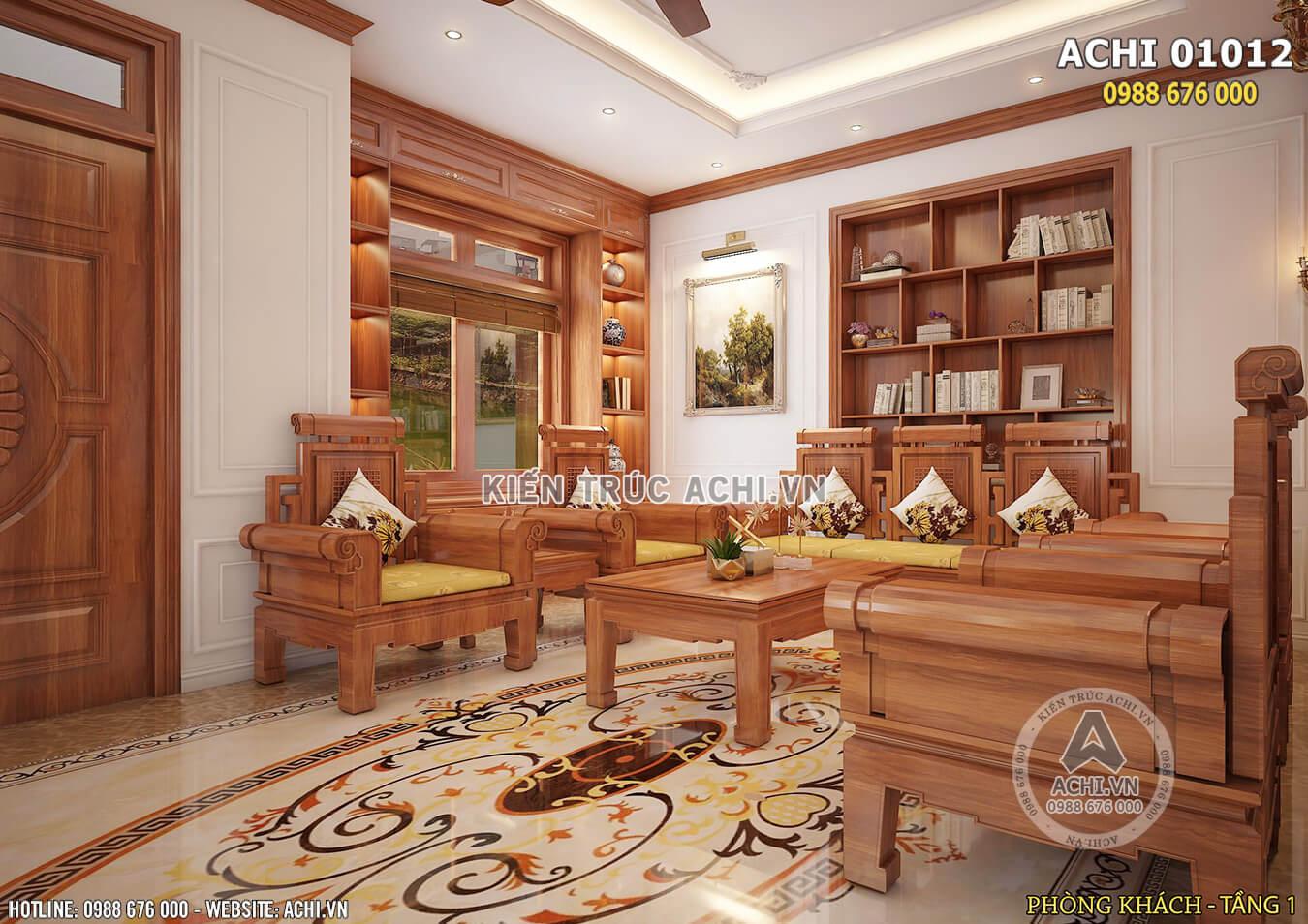 Thiết kế nội thất biệt thự bằng gỗ sang trọng - ACHI 01012