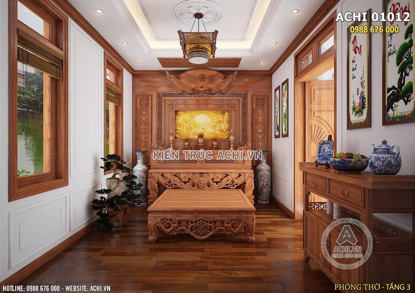 Không gian nội thất phòng thờ với chất liệu gỗ tự nhiên