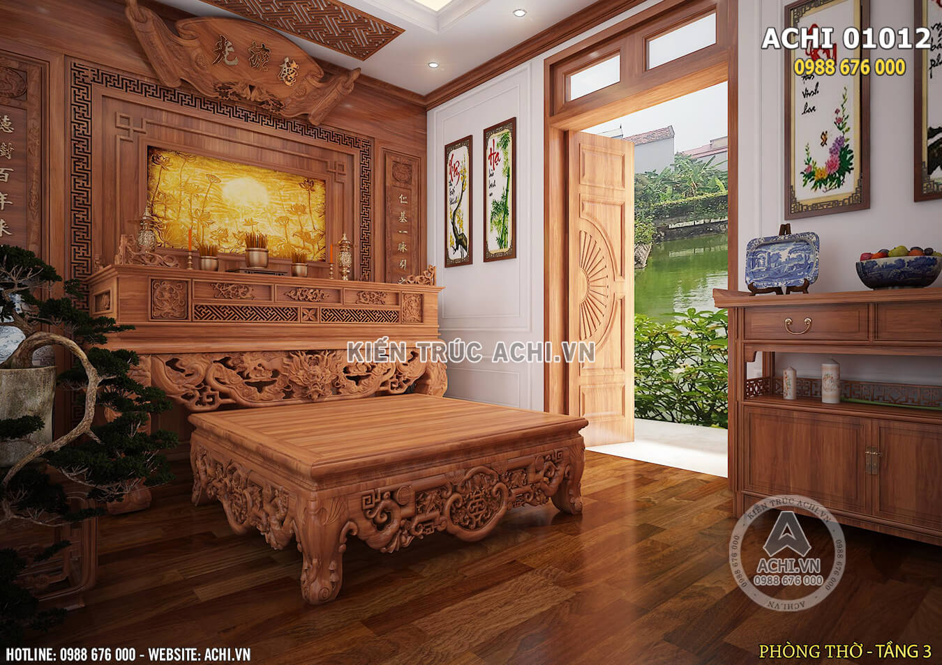 Không gian nội thất phòng thờ được thiết kế tỉ mỉ và tinh tế