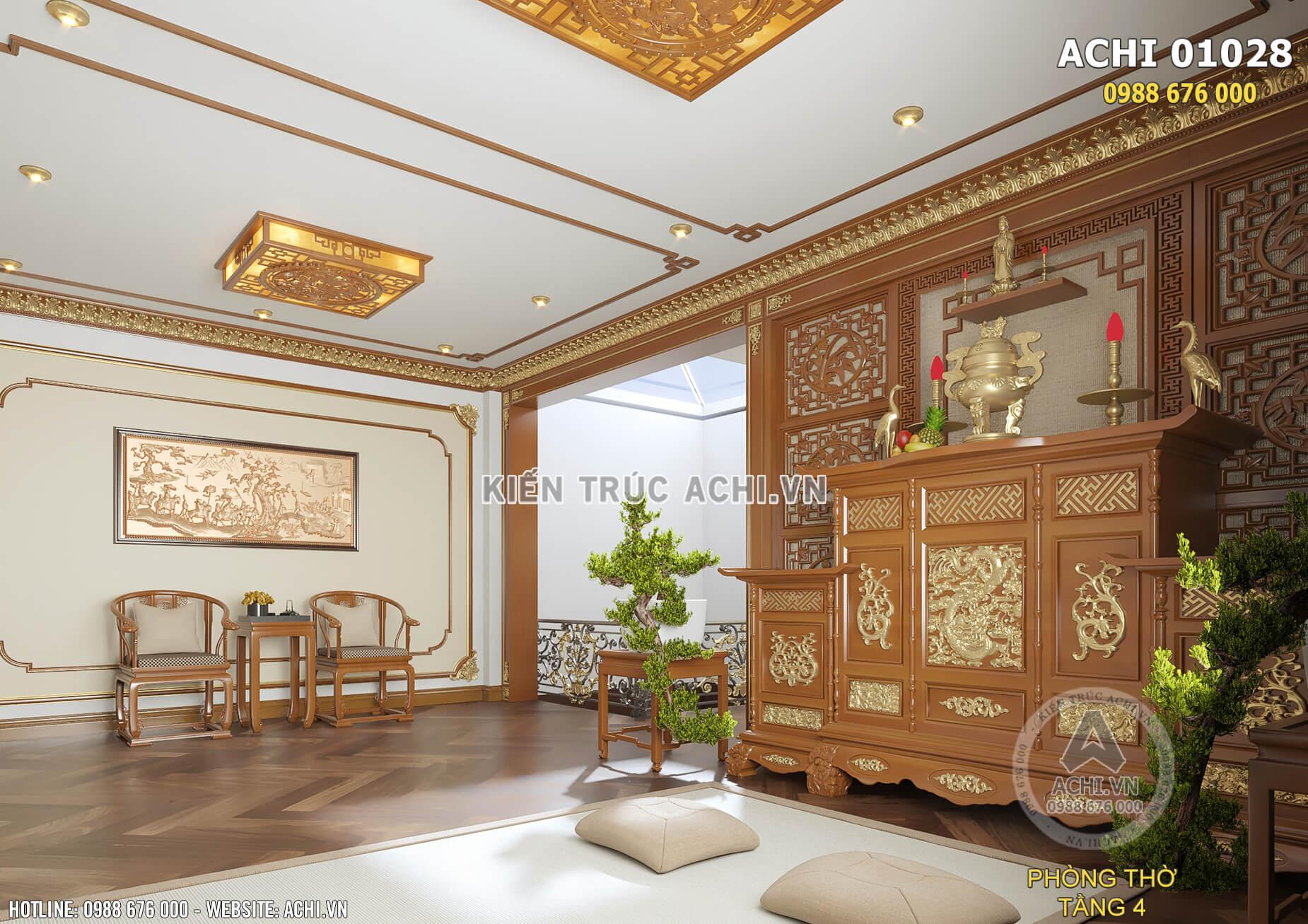 Thiết kế nội thất phòng thờ tân cổ điển sang trọng, thanh nhã và thoáng rộng