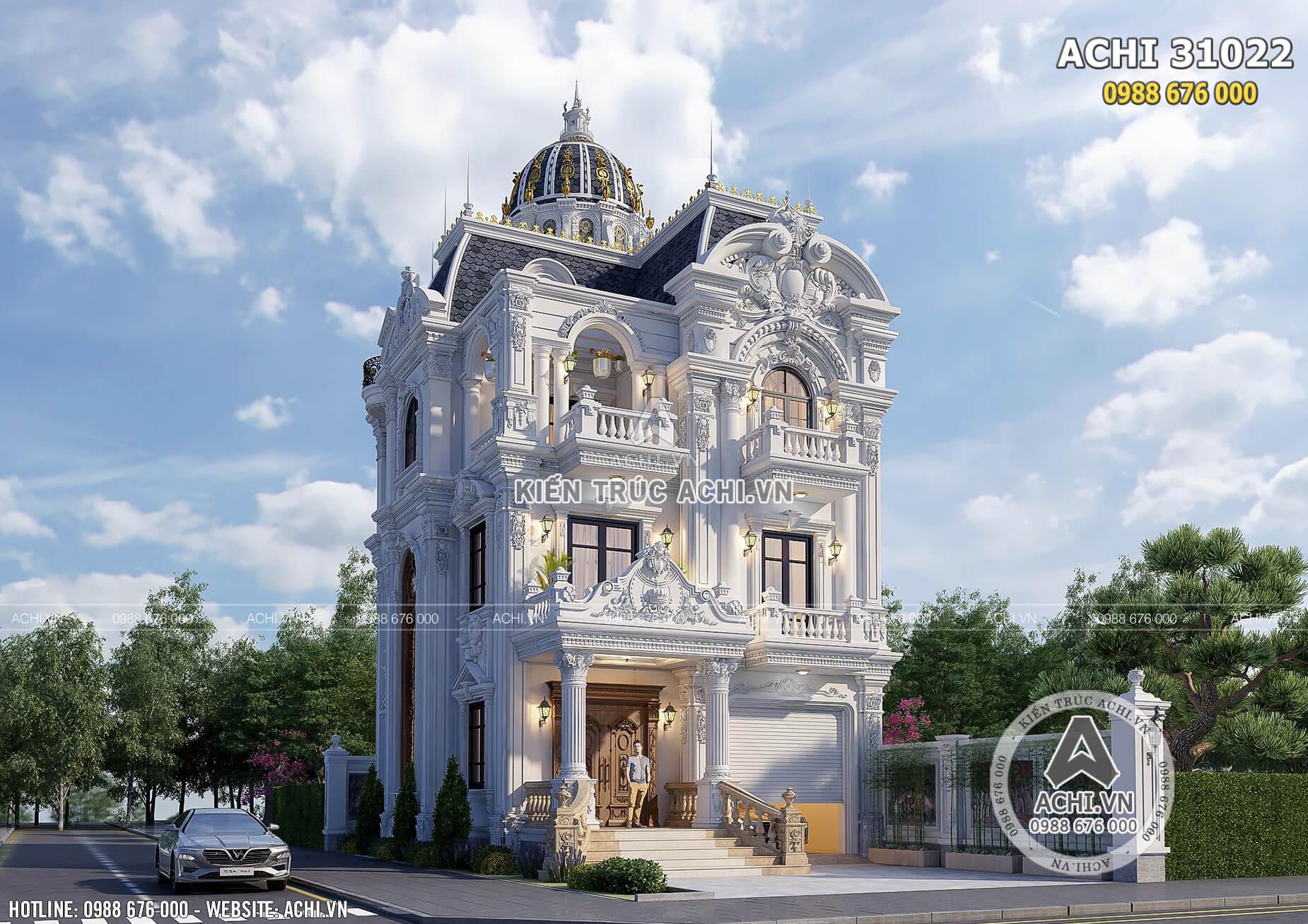 Không gian ngoại thất đẹp thu hút mọi ánh nhìn của mẫu biệt thự Pháp 3 tầng mặt tiền 10m