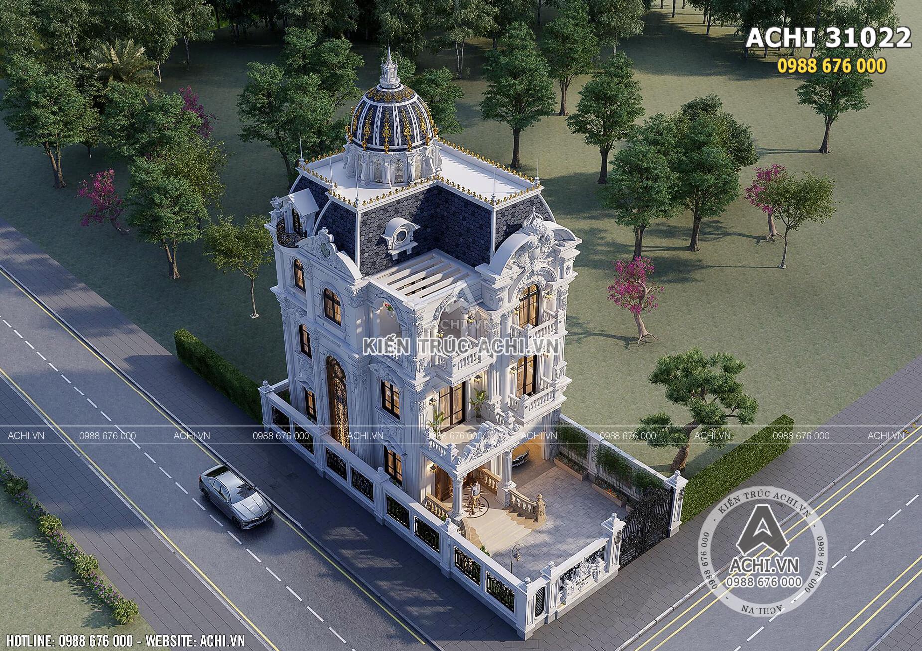 Mẫu thiết kế biệt thự tân cổ điển 3 tầng mặt tiền 10m đẹp tại Long An - Mã số: ACHI 31022