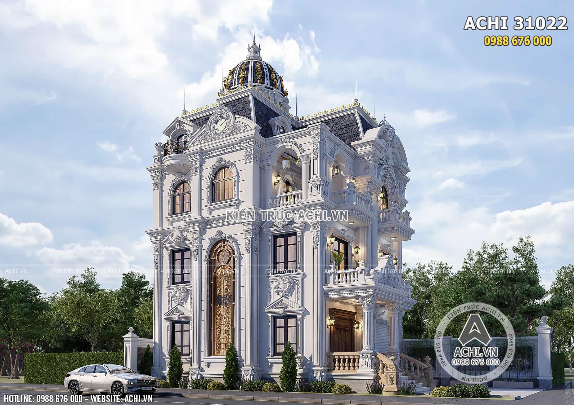 Một góc view đẹp không gian ngoại thất đẹp đến từng chi tiết nhỏ của mẫu biệt thự Pháp