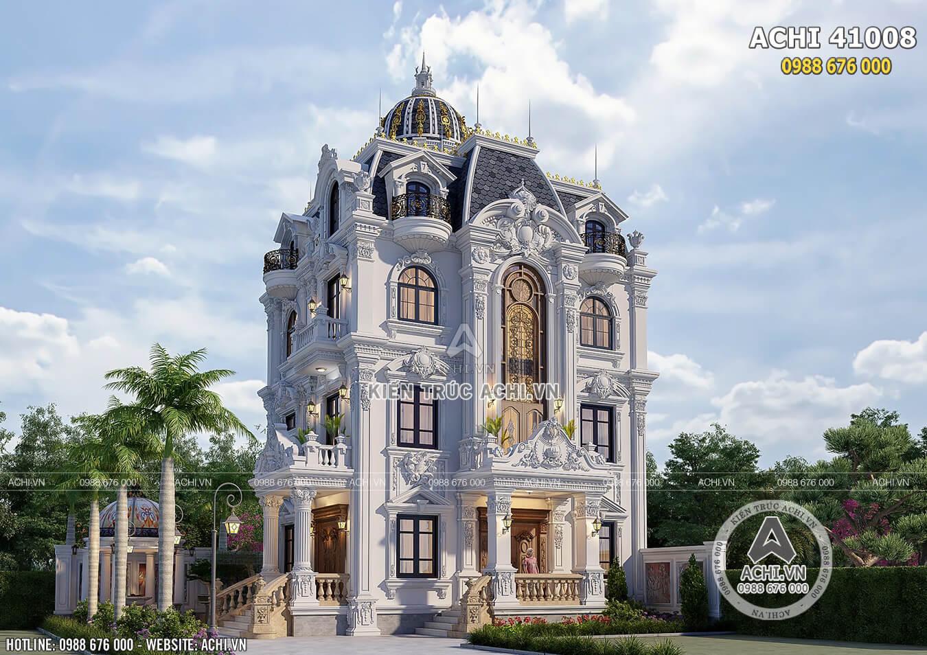 Mẫu biệt thự tân cổ điển 4 tầng 100m2 đẹp tại Quảng Ninh - ACHI 41008