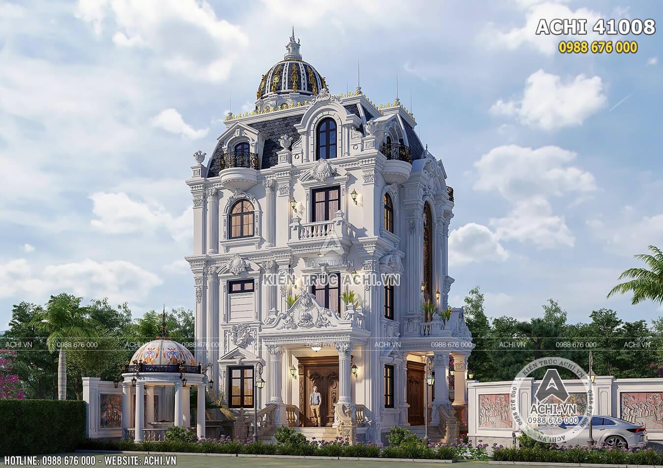 Một góc view của ngôi biệt thự tân cổ điển 4 tầng đẹp sang trọng