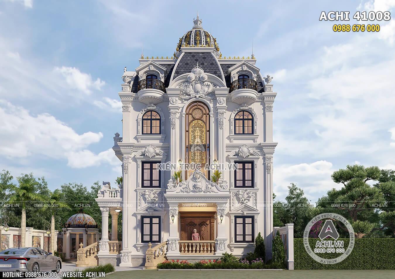 Mặt tiền ngôi biệt thự tân cổ điển 4 tầng sang trọng và độc đáo
