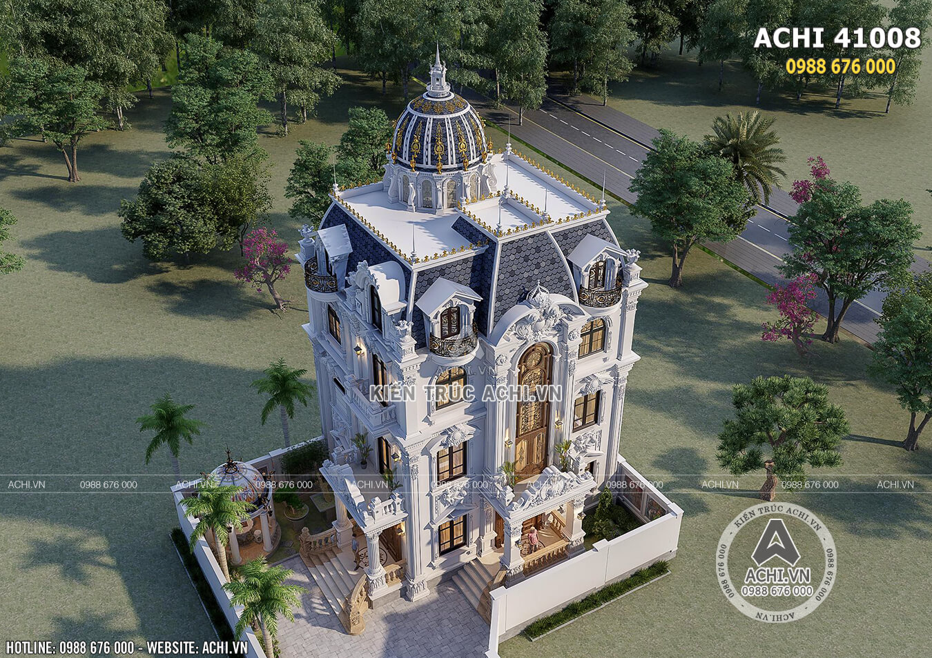 Mẫu biệt thự tân cổ điển đẹp 4 tầng nhìn từ trên cao