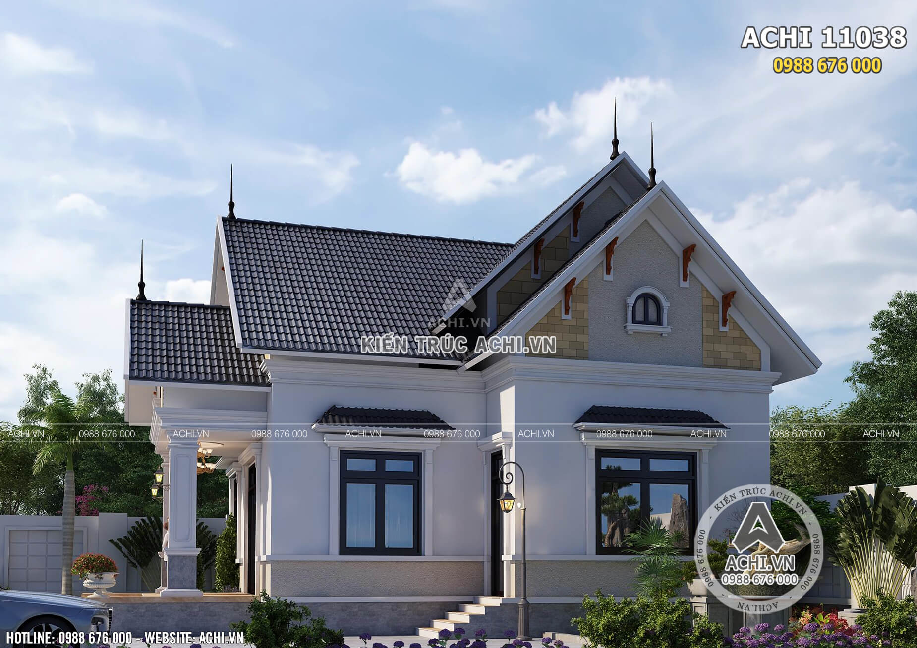 Biệt thự 1 tầng mái Thái đẹp tại Cao Bằng khiến bạn không thể rời mắt