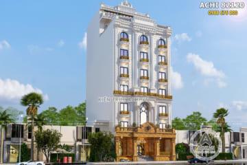 Mẫu thiết kế khách sạn 8 tầng đẹp 3 sao có bể bơi trên mái – ACHI 82120