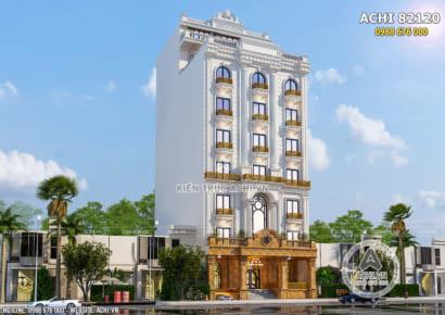 Mẫu thiết kế khách sạn 8 tầng đẹp 3 sao có bể bơi trên mái - ACHI 82120