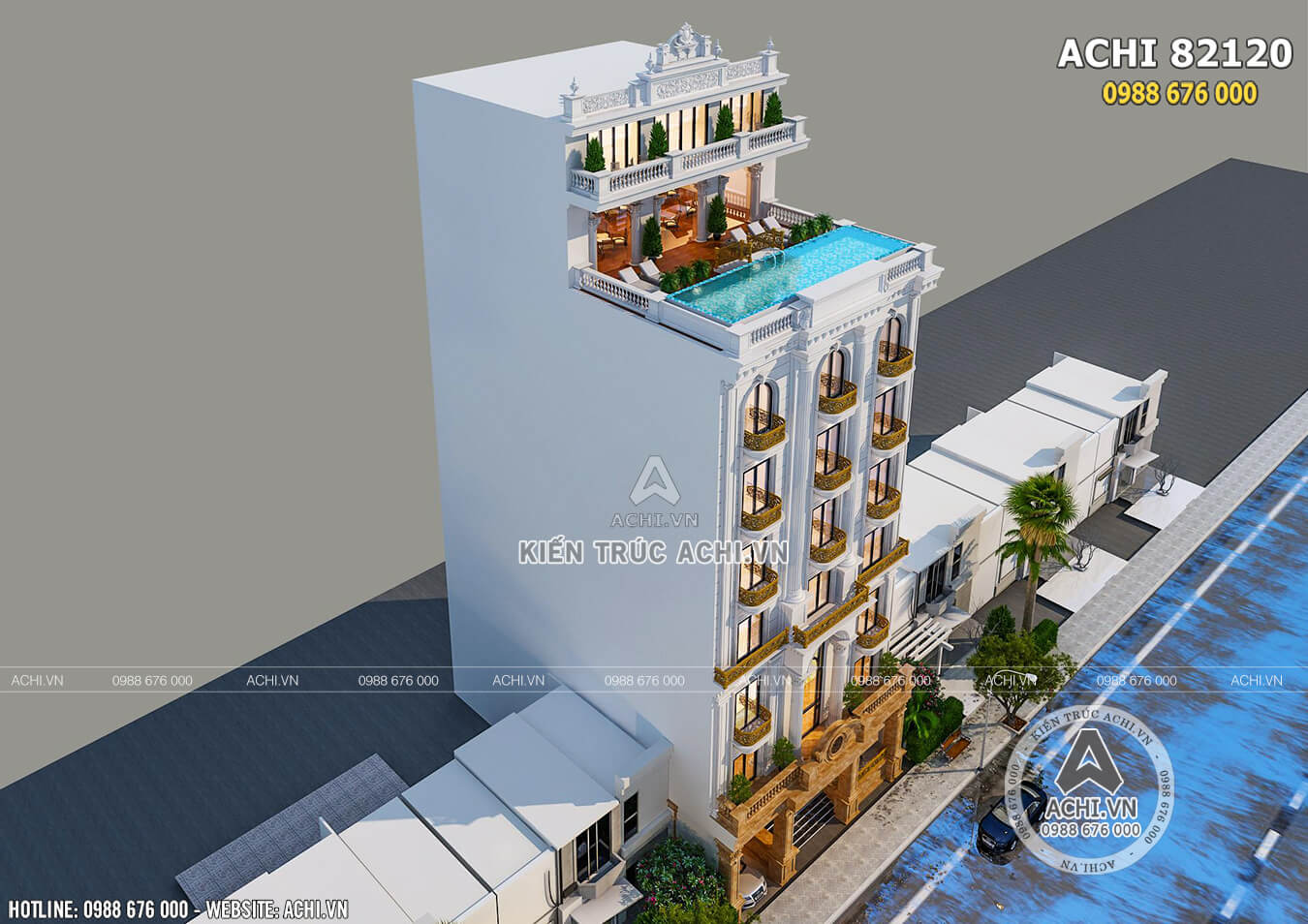 Thiết kế khách sạn 8 tầng 3 sao