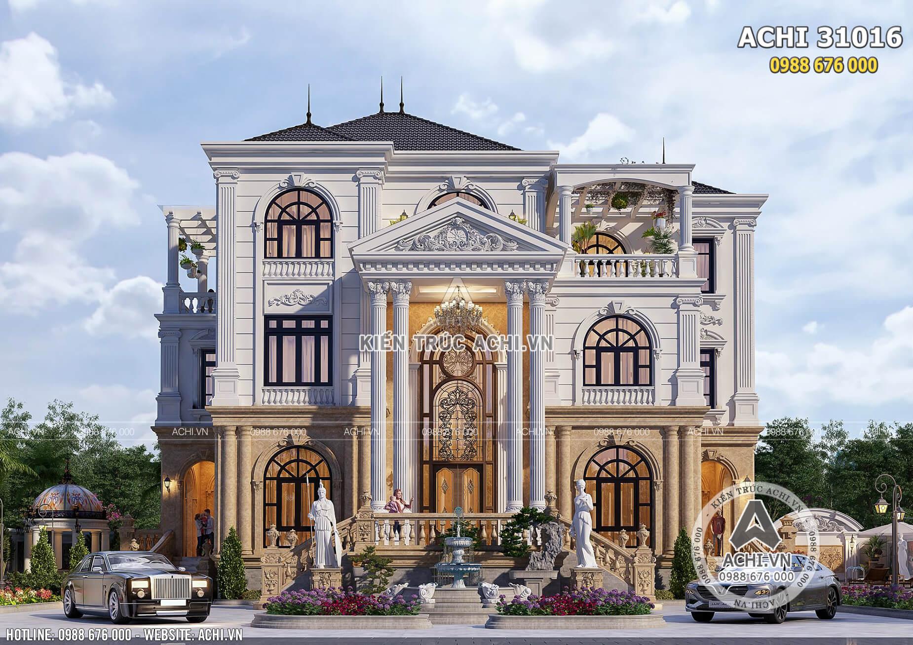Mặt tiền nhà tân cổ điển 3 tầng