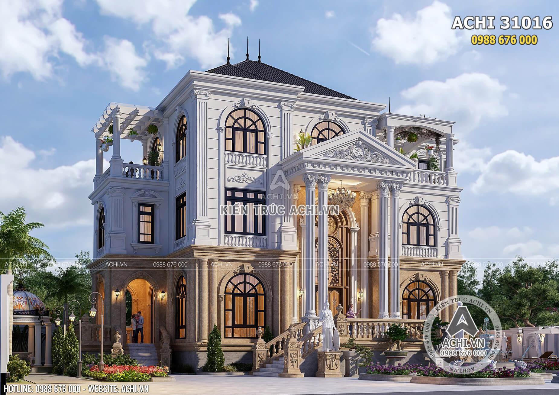 Mẫu thiết kế nhà 3 tầng đẹp tân cổ điển tại Quảng Trị - ACHI 31016