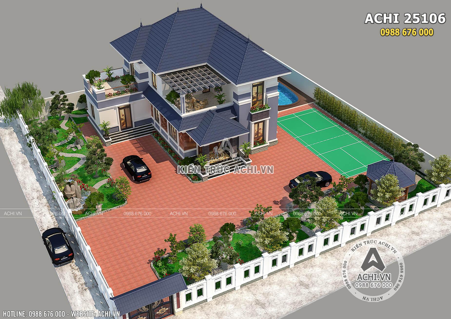 Mẫu thiết kế nhà mái nhật 2 tầng nhìn từ trên cao
