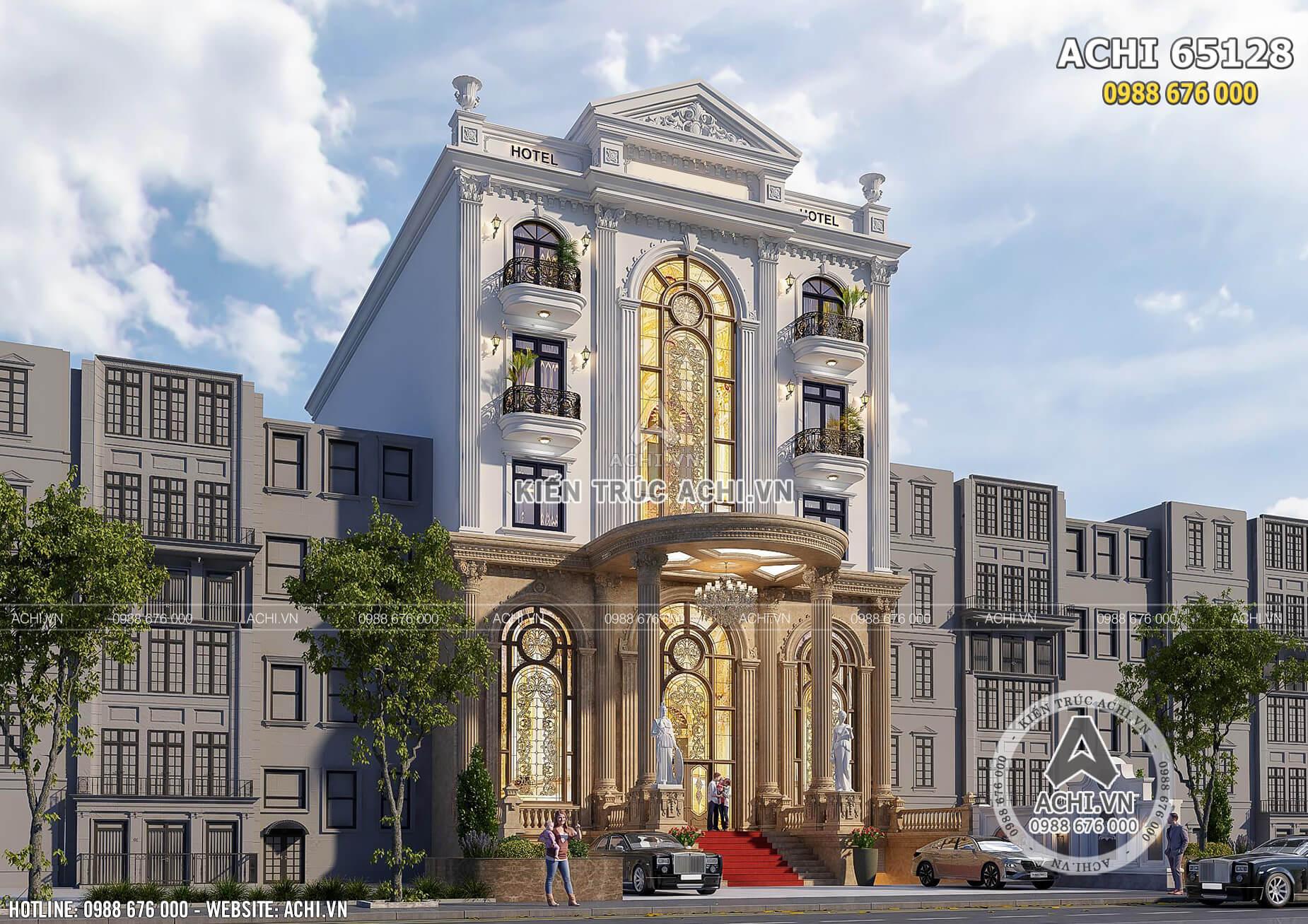 Mẫu thiết kế tòa nhà cao tầng để ở và kinh doanh mặt tiền 12m - ACHI 65128