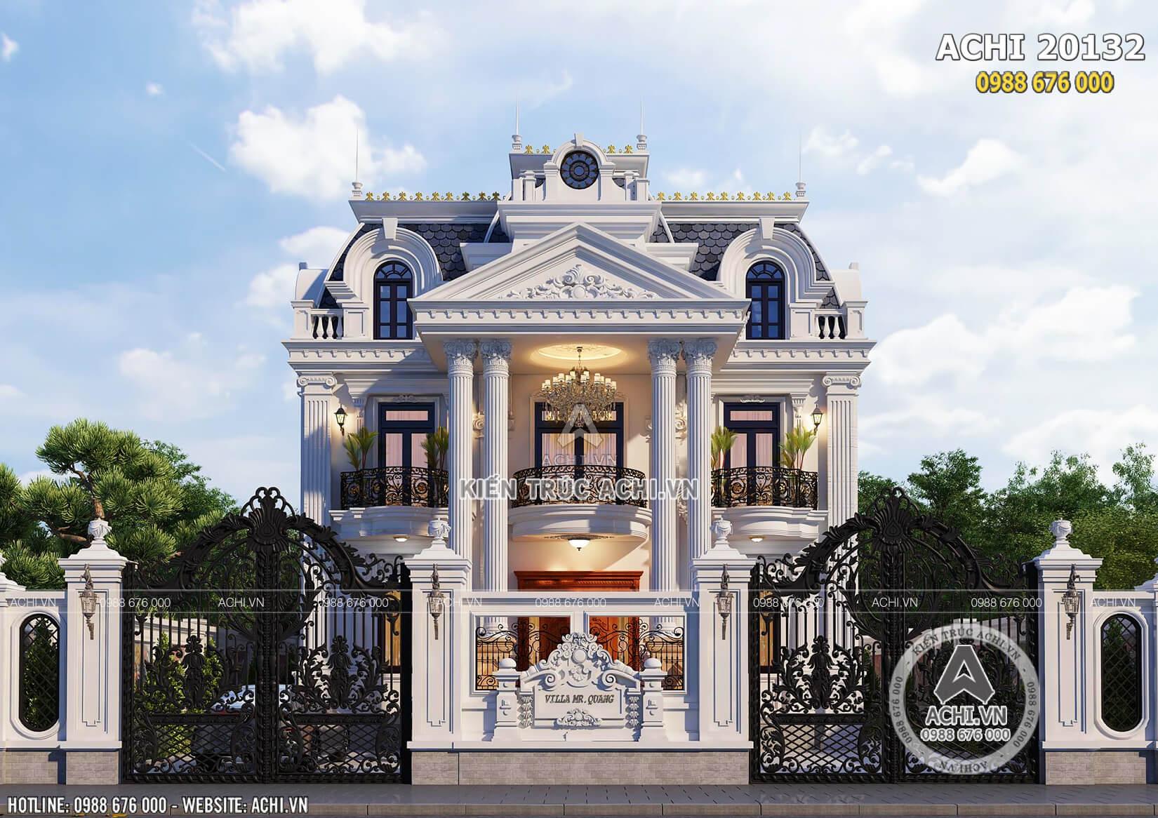 Vẻ đẹp quyến rũ của mẫu biệt thự Pháp 2 tầng 1 tum thu hút mọi ánh nhìn của người qua đường