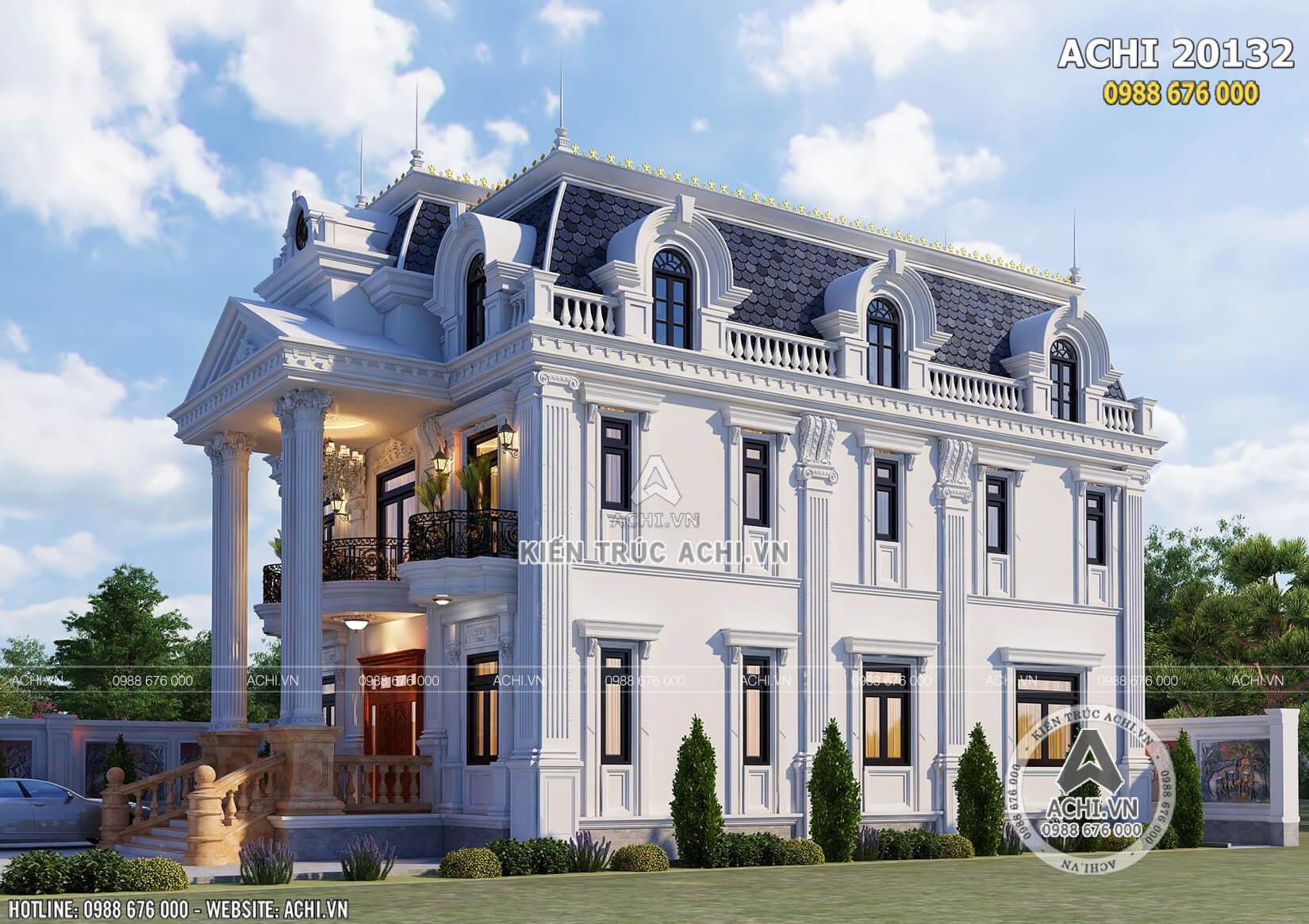 Mẫu thiết kế biệt thự tân cổ điển 2 tầng 1 tum đẹp tại Sóc Trăng - Mã số: ACHI 20132