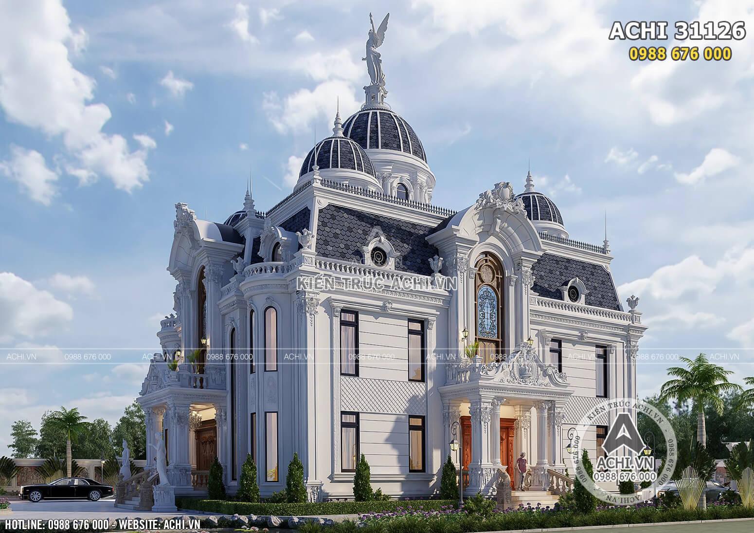 Thiết kế dinh thự lâu đài đẹp 400m2 tại Cần Thơ - ACHI 31126