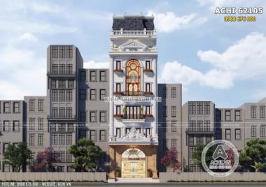 Mẫu thiết kế khách sạn nhà lô phố tân cổ điển 6 tầng đẹp – ACHI 62105