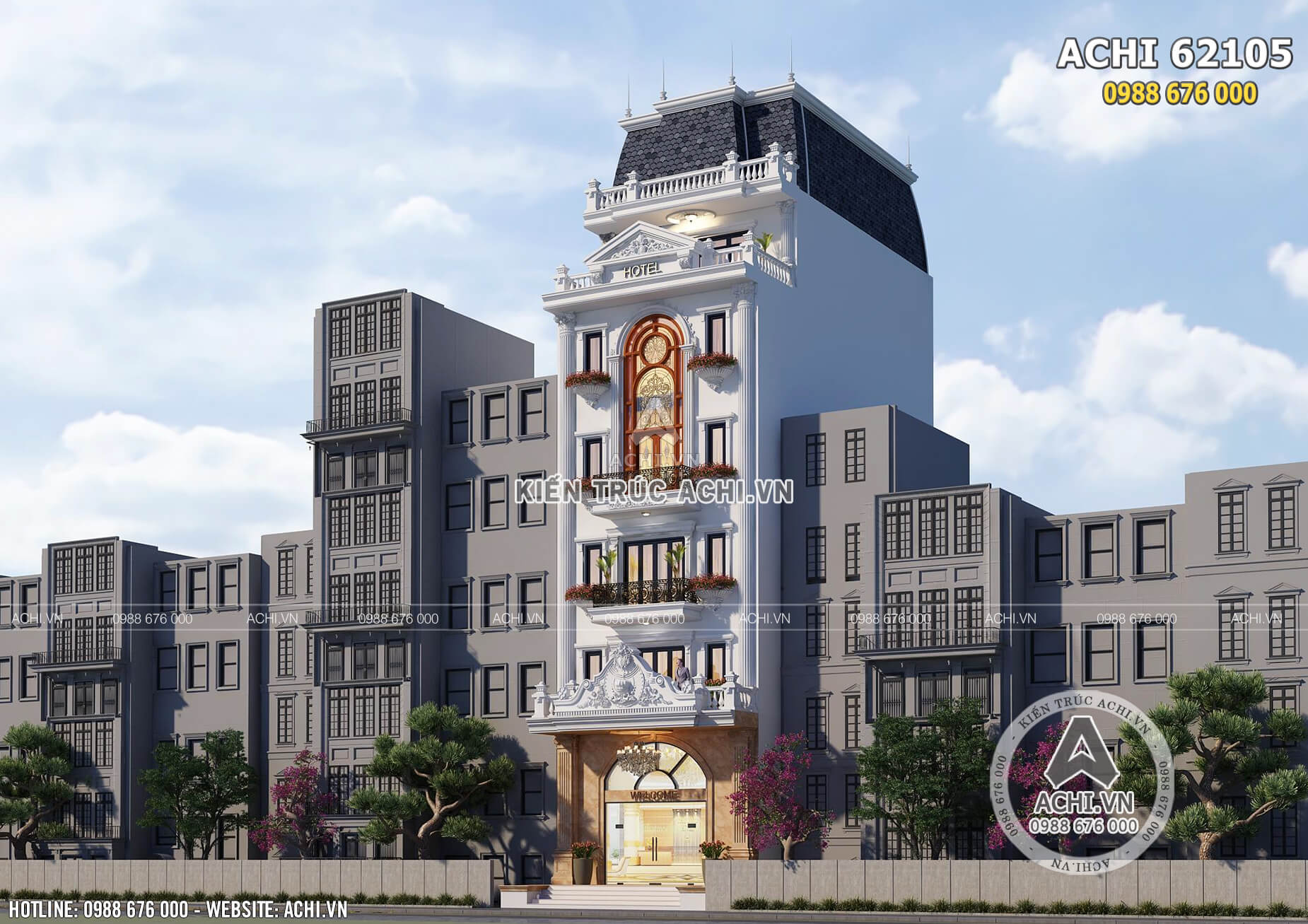 Mẫu thiết kế khách sạn nhà lô phố tân cổ điển 6 tầng đẹp - ACHI 62105