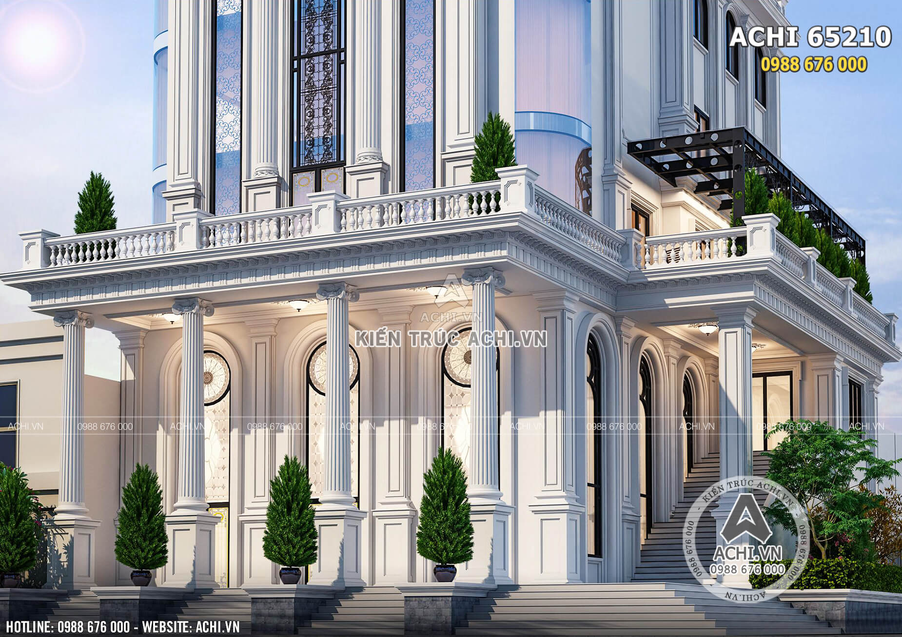 Chi tiết sảnh chính của mẫu nhà hàng khách sạn tân cổ điển