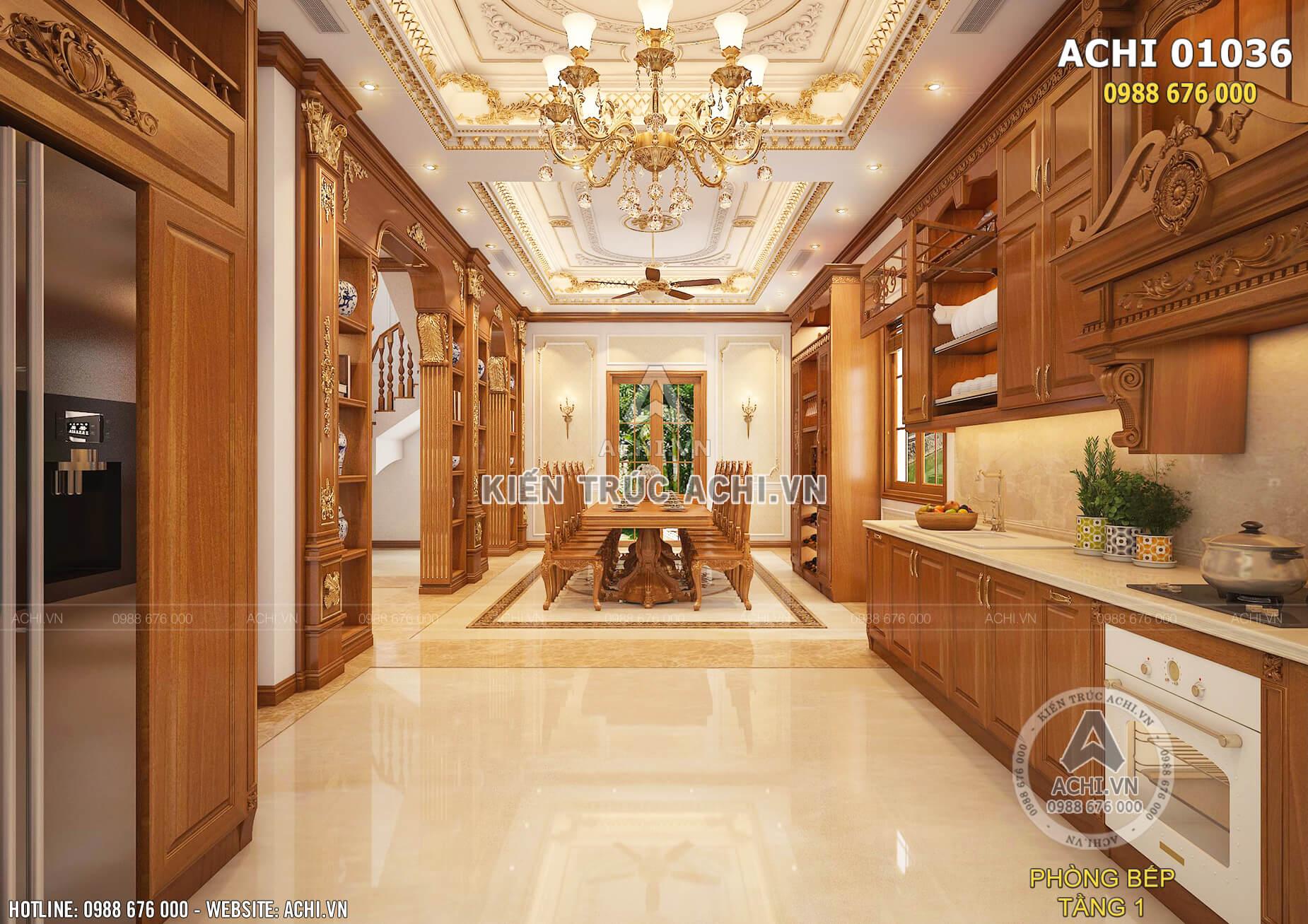 Tổng thể khu bếp được thiết kế thoáng rộng mang đến sự thoải mái