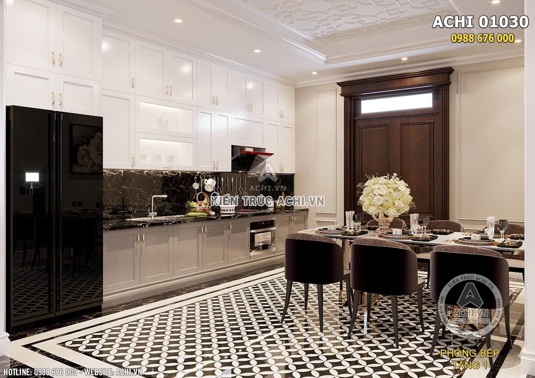 Thiết kế nội thất phòng bếp đơn giản nhưng ấn tượng theo phong cách kiến trúc tân cổ điển kết hợp địa trung hải