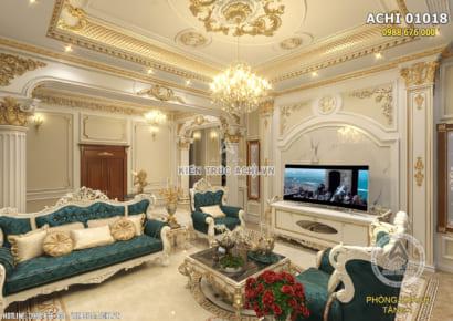 Một góc nhìn đẹp không gian nội thất phòng khách phong cách kiến trúc tân cổ điển đẹp tại Bình Dương