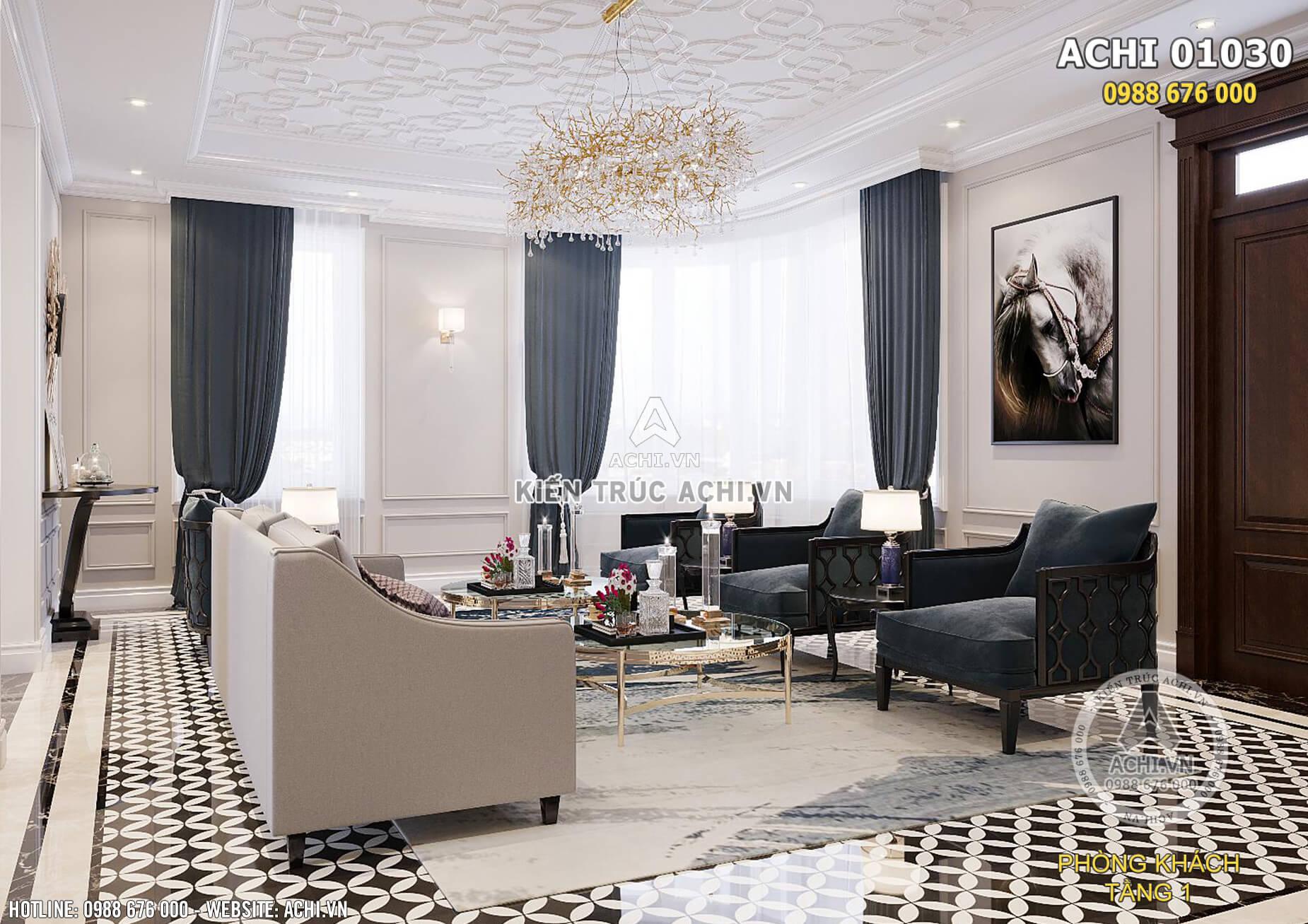 Thiết kế nội thất phòng khách tân cổ điển nhẹ nhàng, lôi cuốn