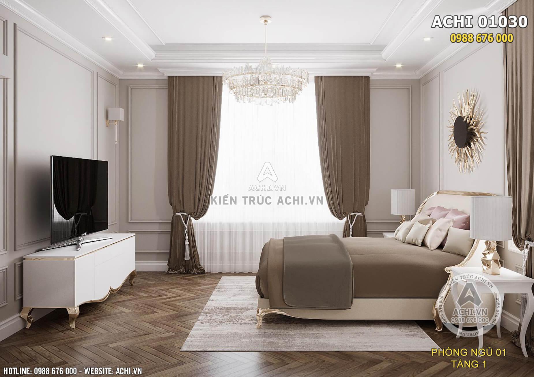 Thiết kế nội thất phòng ngủ tân cổ điển nhẹ nhàng, tiện nghi