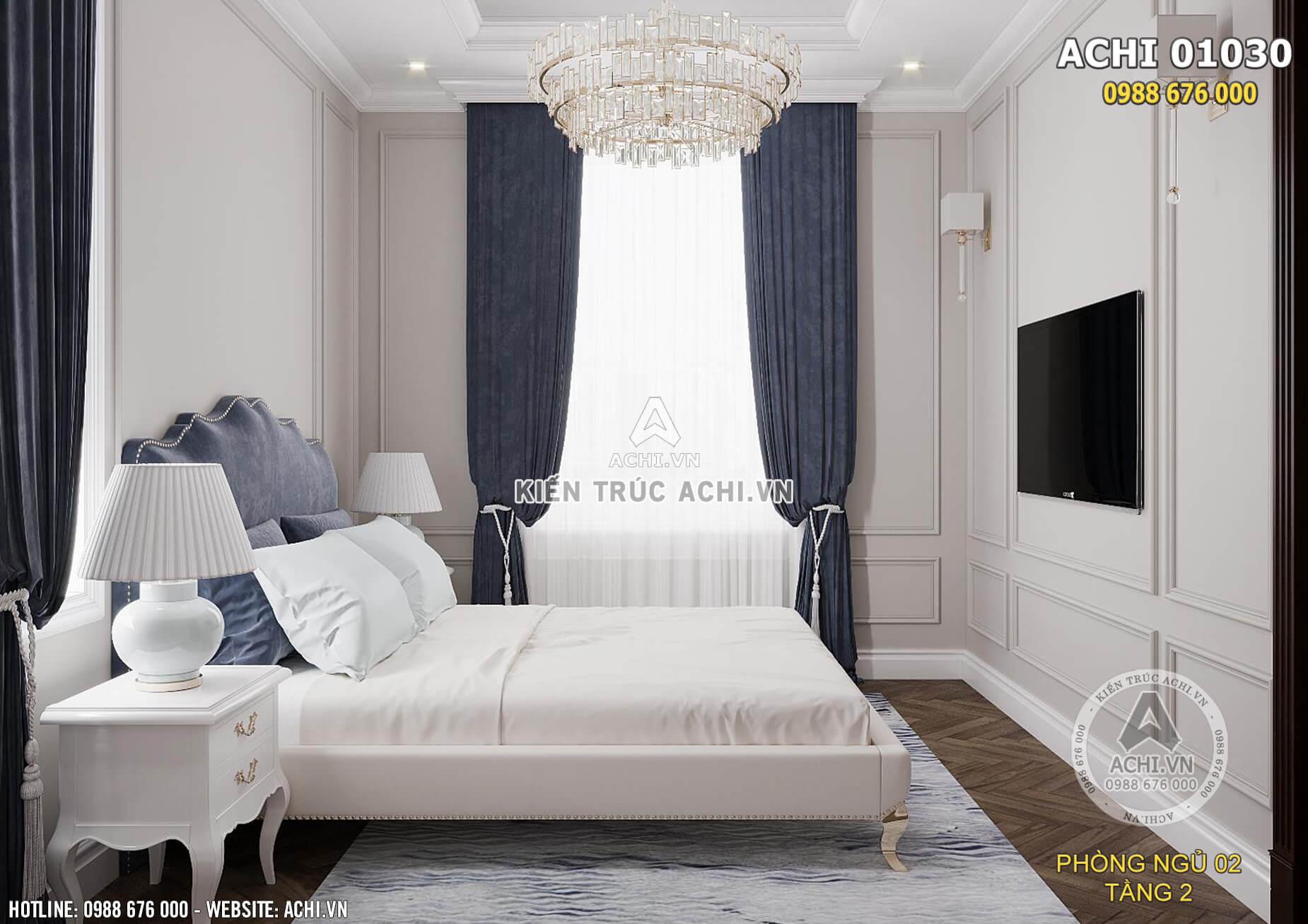 Phòng ngủ được thiết kế tối giản nhưng tiện nghi