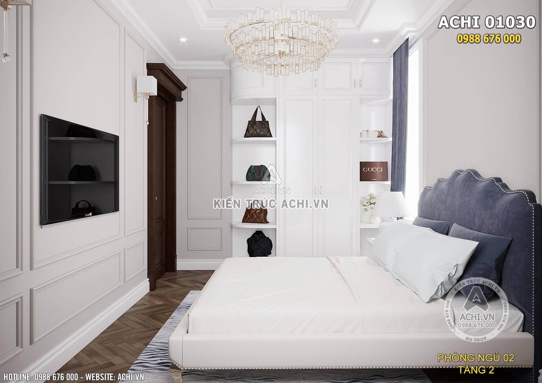 Thiết kế phòng ngủ tuy diện tích hạn chế nhưng vẫn tiện nghi và ngăn nắp