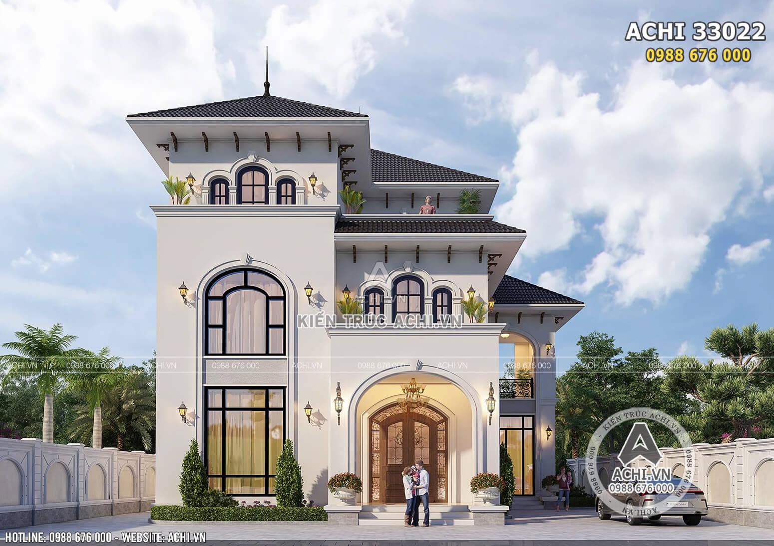 Phối cảnh 3D mặt tiền ngôi biệt thự mái Thái kiến trúc Địa Trung Hải đẹp, sang trọng